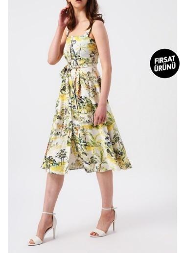 Random Kadın Beli Kuşaklı Floral Desenli Askılı Midi Elbise Yeşil